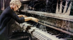 Good music doesn't have an expiration date... (Iris Okiddo) Tags: iris okiddo piano pianos beethoven cobweb spider webs blond blondes blue eyes pinup pin up