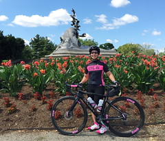 Sherry and Merchant Marine Memorial (Mr.TinDC) Tags: people friends cyclists sherry pinarello dogma monuments memorials navymerchantmarinememorial flowers pink