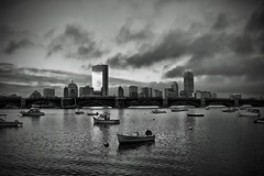 as hermine clears (Silverio Photography) Tags: boston massachuetts newengland charles river cityscape city water cambridge canon 24mm pancake 60d blackandwhite photoshop elements topaz hdr adjust boats longfellow