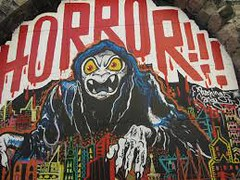 Horror (codedtestament777) Tags: citysights5 graffiti art beautiful love life design surreal text bright sign painting writing nature crazy weird fabulous environment cartoon animation outdoor street photo border photoborder illustration collection portrait face expression character